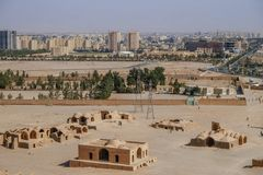 Aerial view of ancient Zoroastrian building and modern architecture in Yazd city, Iran. stock images