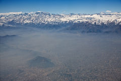 Aerial view of Andes and Santiago with smog. Chile Royalty Free Stock Photo