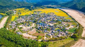 Aerial view of Andong, Hahoe Village in South Korea. Hahoe villa stock photo