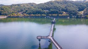 Aerial view of Andong river with korean tradition shop and Wolye stock photos
