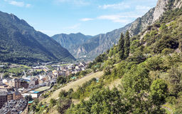 Aerial view of Andorra la Bella. Located in the Pyrenees mountains, houses and buildings are. on a sunny day Royalty Free Stock Photo