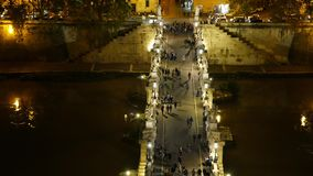 Aerial view from Angels Castle over the beautiful pedestrian bridge Sant Angelo in Rome. Videoclip stock video footage
