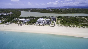 Aerial view of Anguilla Beach. Best Anguilla Beaches in Caribbean from the sky, Aerial views Royalty Free Stock Images