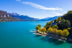 Aerial view of Annecy lake waterfront in France royalty free stock image