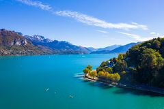 Aerial view of Annecy lake waterfront - France royalty free stock photo