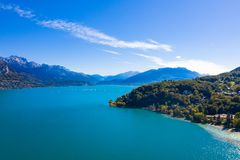 Aerial view of Annecy lake waterfront - France stock images