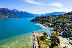 Aerial view of Annecy lake waterfront - France stock photos