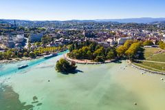 Aerial view of Annecy lake waterfront low tide level due to the stock photo