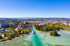 Aerial view of Annecy lake waterfront low tide level due to the stock image
