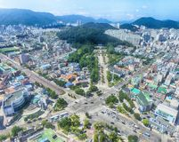 Aerial View of Anrak Intersection, Dongrae, Busan, South Koera, Asia.  royalty free stock photos