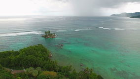 Aerial view of Anse Royale tropical coast on Mahe Island, Seychelles. stock footage