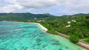 Aerial view of Anse Royale beach on Mahe Island, Seychelles Islands stock footage