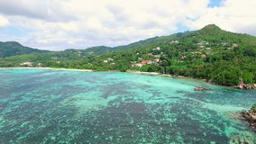 Aerial view of Anse Royale beach on Mahe Island, Seychelles Islands stock video