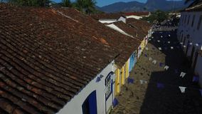 Aerial view antique architecture and street in the city of Paraty - Rio de Janeiro - Brazil.  stock video