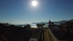 Aerial view antique architecture and street in the city of Paraty - Rio de Janeiro - Brazil.  stock video footage