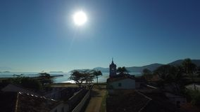 Aerial view antique architecture and street in the city of Paraty - Rio de Janeiro - Brazil.  stock footage