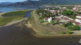 Aerial view antique architecture and street in the city of Paraty - Rio de Janeiro - Brazil stock video