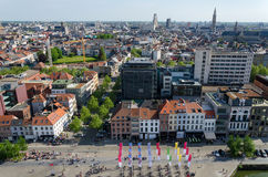Aerial view of Antwerp city Stock Images