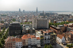 Aerial view of Antwerp from museum MAS roof terrace, Belgium Royalty Free Stock Image