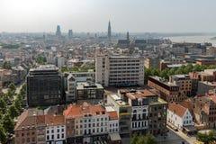 Aerial view of Antwerp from museum MAS roof terrace, Belgium Royalty Free Stock Image