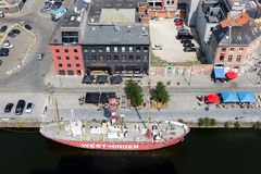 Aerial view of Antwerp port area with lightship, Belgium Stock Photo