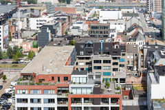 Aerial view of Antwerp port area from museum MAS roof terrace, Belgium Royalty Free Stock Photos