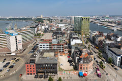 Aerial view of Antwerp port area from roof terrace museum MAS, Belgium Stock Photo