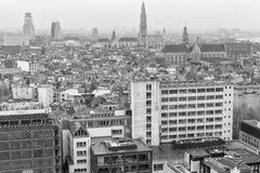 Aerial view of Antwerpen skyline at dusk Royalty Free Stock Images