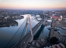 Aerial view of Anzac Bridge stock image