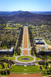 Aerial view Anzac Parade to Australian War Memorial Royalty Free Stock Photography