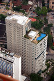 Aerial view of aparment. Aerial view of apartment showing rooftop swimming pool Royalty Free Stock Photos