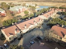 Aerial view apartment complex near canal in Irving, Texas, USA royalty free stock photo