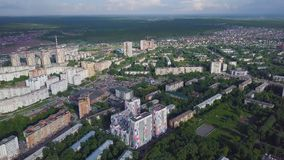 Aerial view apartment buildings complex and residential houses neighborhood. Clip. Top view of the modern luxery. Residential complex Stock Photography