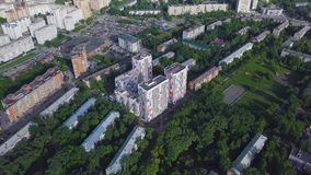 Aerial view apartment buildings complex and residential houses neighborhood. Clip. Top view of the modern luxery. Residential complex Royalty Free Stock Photography