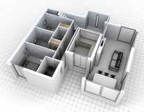 Aerial view of apartment rendering vector illustration