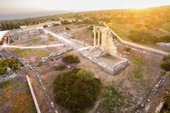 Aerial view of Apollonas Ilatis ancient site, Limassol, Cyprus. Aerial view of the arcaeological site of Apollon Ilatis sanctuary in Limassol, Cyprus. The ruins royalty free stock photography