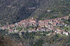 Aerial view of Apricale Stock Image