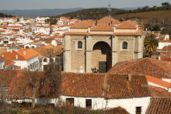Aerial view of Aracena village in Andalusia Stock Photo
