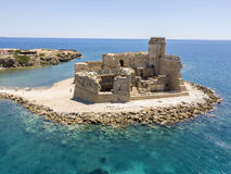 Aerial view of the Aragonese castle of Le Castella, Le Castella, Calabria, Italy. The Ionian Sea, built on a small strip of land overlooking the Costa dei Stock Images
