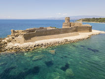 Aerial view of the Aragonese castle of Le Castella, Le Castella, Calabria, Italy. The Ionian Sea, built on a small strip of land overlooking the Costa dei Stock Photo