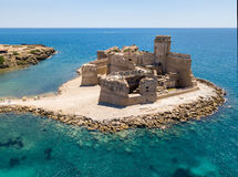 Aerial view of the Aragonese castle of Le Castella, Le Castella, Calabria, Italy. The Ionian Sea, built on a small strip of land overlooking the Costa dei Stock Photos