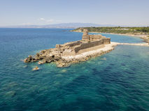 Aerial view of the Aragonese castle of Le Castella, Le Castella, Calabria, Italy. The Ionian Sea, built on a small strip of land overlooking the Costa dei Royalty Free Stock Image