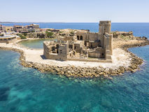 Aerial view of the Aragonese castle of Le Castella, Le Castella, Calabria, Italy. The Ionian Sea, built on a small strip of land overlooking the Costa dei Stock Image