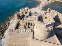 Aerial view of the Aragonese castle of Le Castella, Le Castella, Calabria, Italy. The Ionian Sea, built on a small strip of land overlooking the Costa dei Stock Photography
