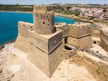 Aerial view of the Aragonese castle of Le Castella, Le Castella, Calabria, Italy Stock Image