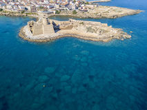 Aerial view of the Aragonese castle of Le Castella, Le Castella, Calabria, Italy Royalty Free Stock Photos