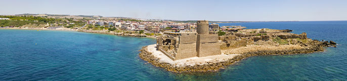 Aerial view of the Aragonese castle of Le Castella, Le Castella, Calabria, Italy Royalty Free Stock Images