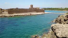 Aerial view of the Aragonese castle of Le Castella, Le Castella, Calabria, Italy stock video