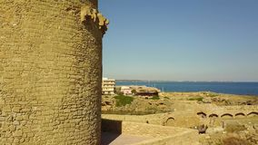 Aerial view of the Aragonese castle of Le Castella, Le Castella, Calabria, Italy stock video footage