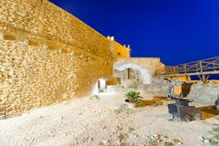 Aerial view of Aragonese Fortress interior at night, Calabria, I. Taly Royalty Free Stock Image